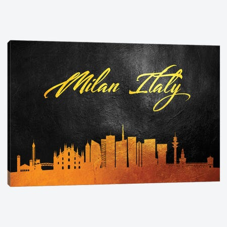 Milan Italy Gold Skyline Canvas Print #ABV588} by Adrian Baldovino Canvas Artwork