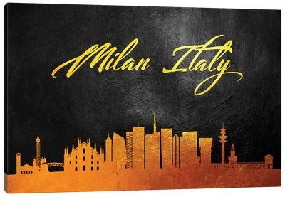 Milan Italy Gold Skyline Canvas Art Print