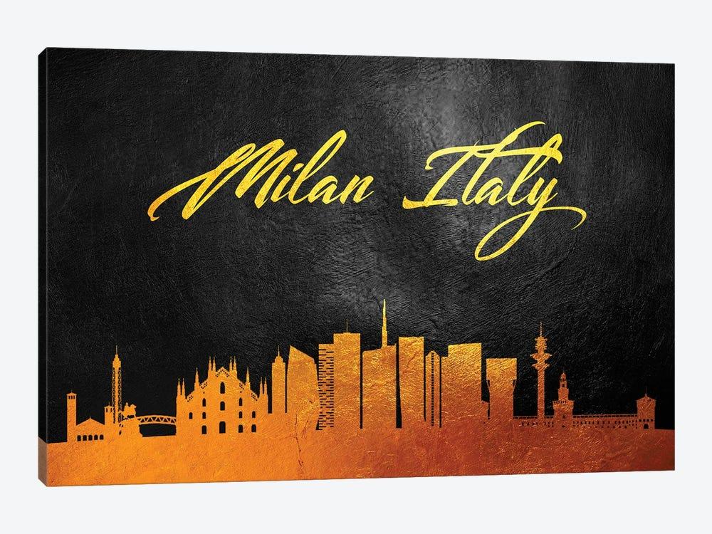 Milan Italy Gold Skyline by Adrian Baldovino 1-piece Canvas Wall Art