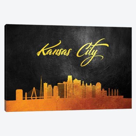 Kansas City Missouri Gold Skyline Canvas Print #ABV58} by Adrian Baldovino Canvas Print