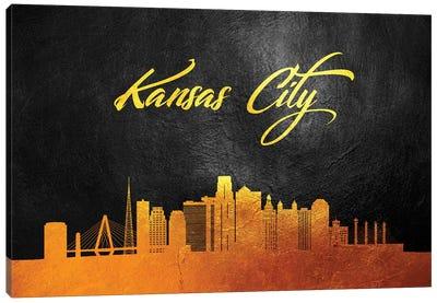 Kansas City Missouri Gold Skyline Canvas Art Print