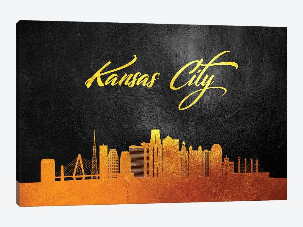 Kansas City Missouri Gold Skyline by Adrian Baldovino 1-piece Canvas Wall Art