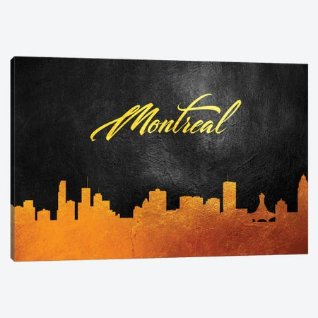 Montreal Canada Gold Skyline 2 Canvas Print #ABV591} by Adrian Baldovino Canvas Print