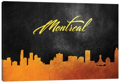 Montreal Canada Gold Skyline 2 Canvas Art Print