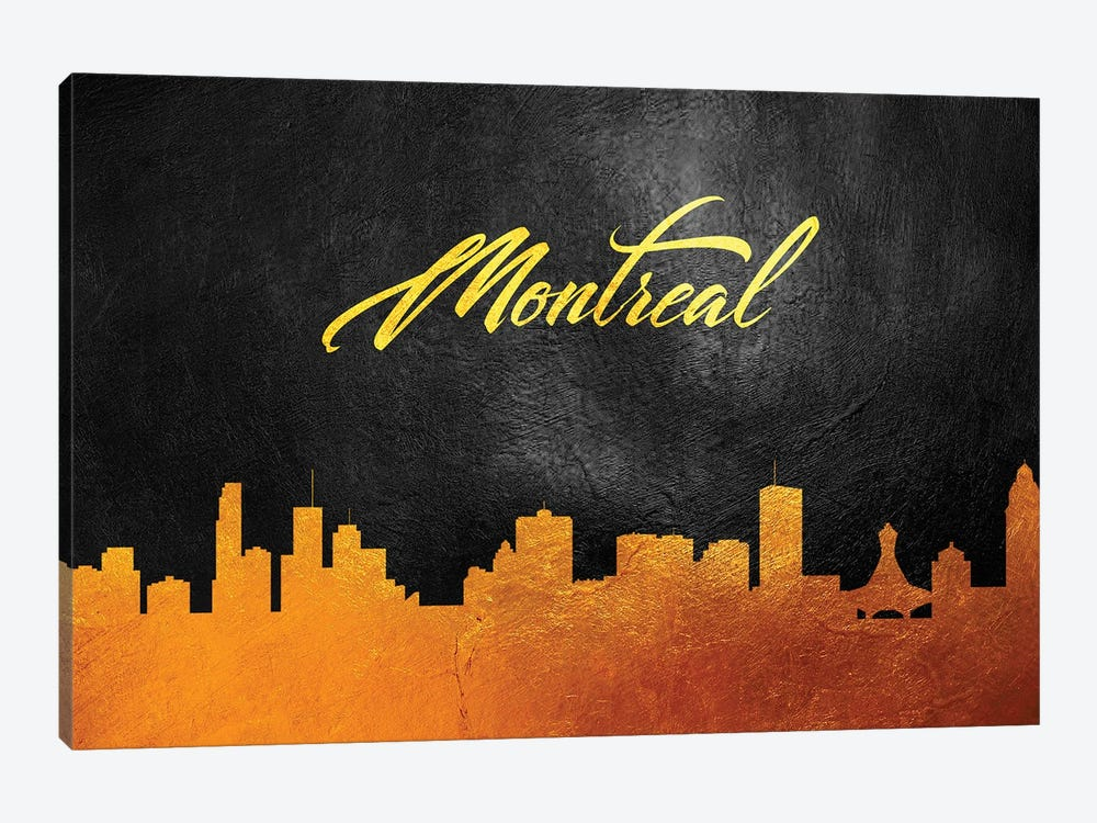 Montreal Canada Gold Skyline 2 by Adrian Baldovino 1-piece Canvas Wall Art
