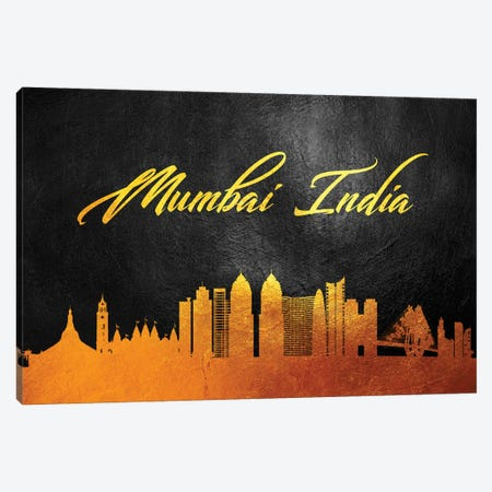 Mumbai India Gold Skyline Canvas Print #ABV592} by Adrian Baldovino Art Print