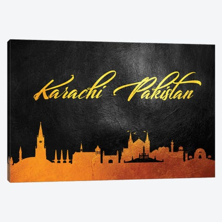Karachi Pakistan Gold Skyline Canvas Print #ABV59} by Adrian Baldovino Canvas Art Print