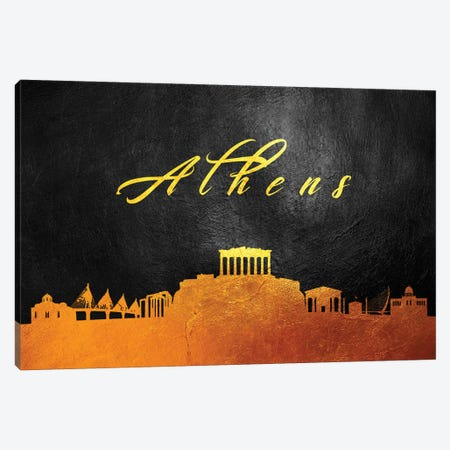 Athens Greece Gold Skyline Canvas Print #ABV5} by Adrian Baldovino Canvas Wall Art