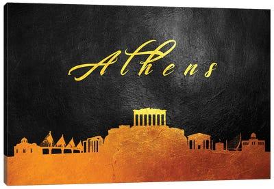 Athens Greece Gold Skyline Canvas Art Print