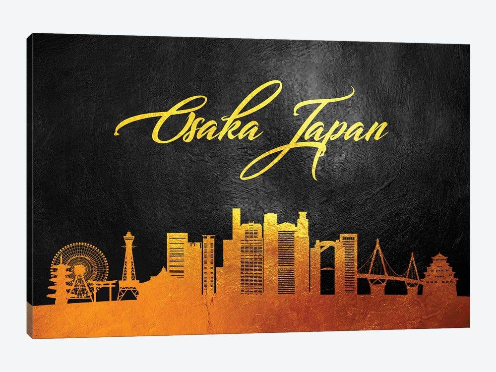 Osaka Japan Gold Skyline by Adrian Baldovino 1-piece Art Print