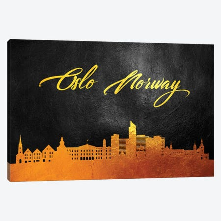 Oslo Norway Gold Skyline Canvas Print #ABV602} by Adrian Baldovino Canvas Print