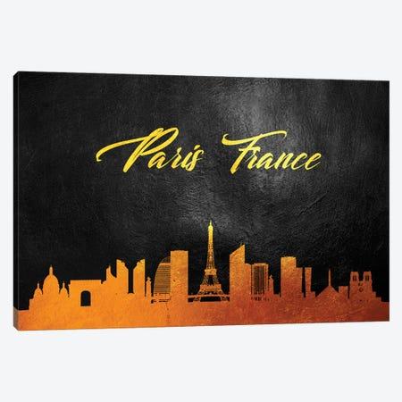 Paris France Gold Skyline Canvas Print #ABV605} by Adrian Baldovino Canvas Wall Art