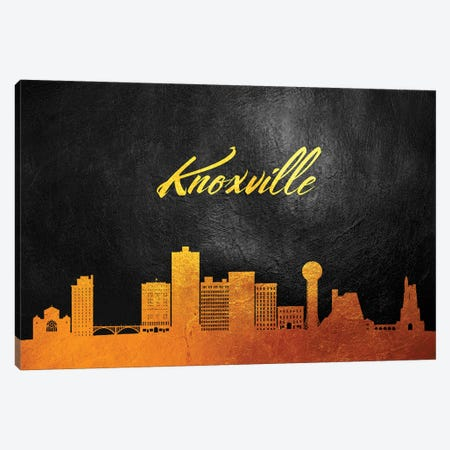 Knoxville Tennessee Gold Skyline Canvas Print #ABV60} by Adrian Baldovino Canvas Art