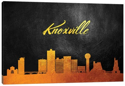 Knoxville Tennessee Gold Skyline Canvas Art Print