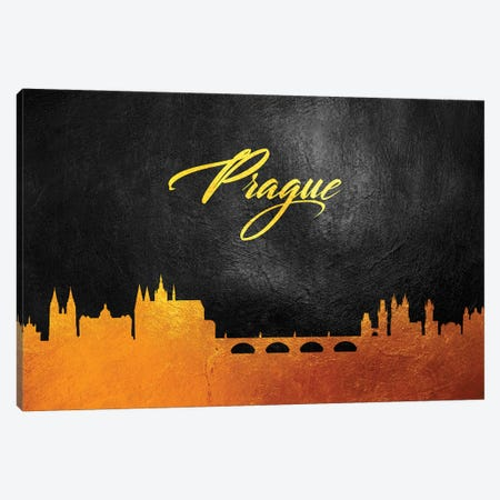 Prague Czech Republic Gold Skyline Canvas Print #ABV611} by Adrian Baldovino Canvas Wall Art