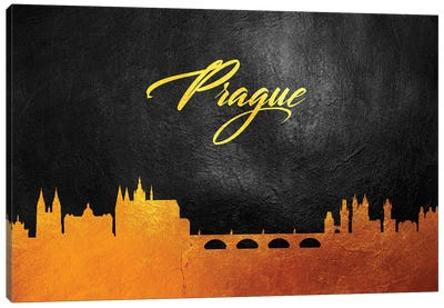 Prague Czech Republic Gold Skyline Canvas Art Print