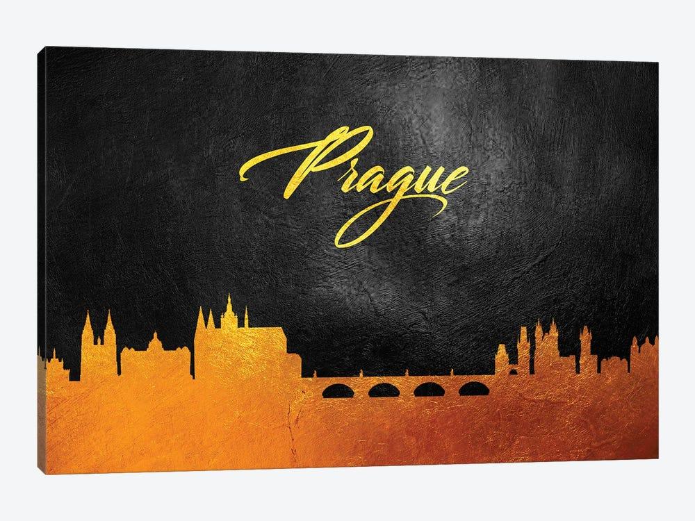 Prague Czech Republic Gold Skyline by Adrian Baldovino 1-piece Canvas Wall Art