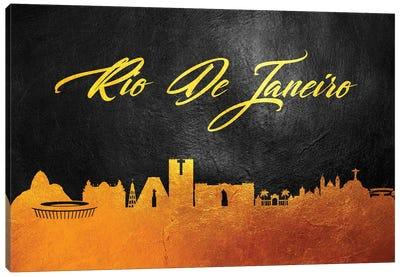 Rio de Janeiro Brazil Gold Skyline 2 Canvas Art Print