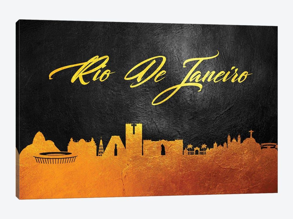 Rio de Janeiro Brazil Gold Skyline 2 by Adrian Baldovino 1-piece Canvas Wall Art