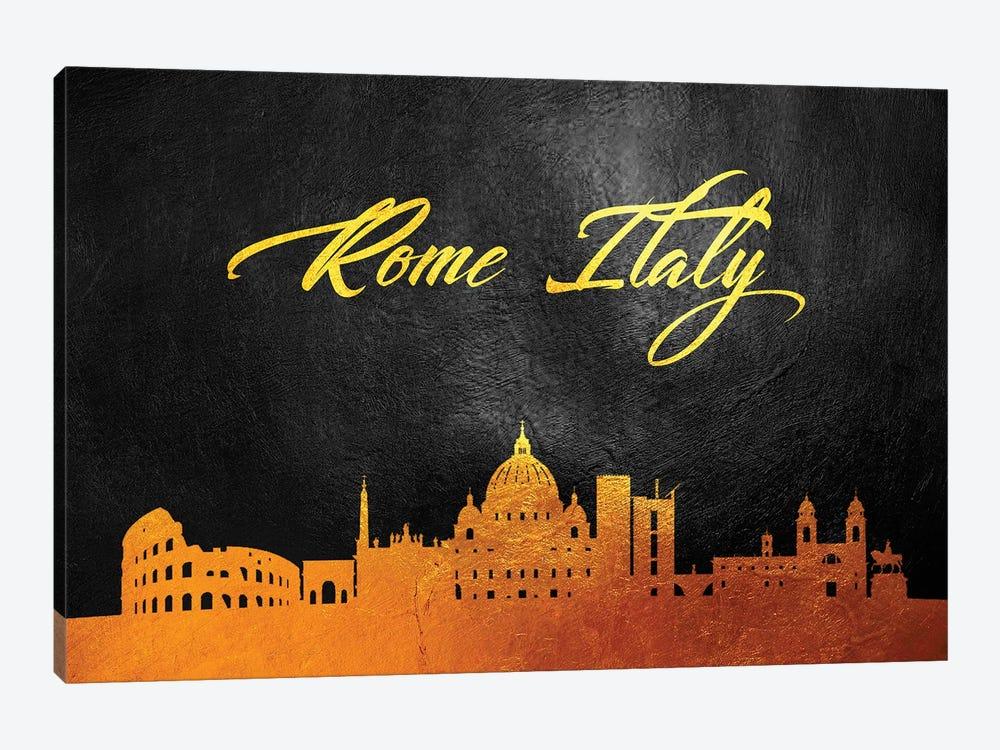 Rome Italy Gold Skyline by Adrian Baldovino 1-piece Art Print