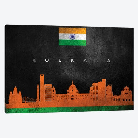 Kolkata India Skyline Canvas Print #ABV61} by Adrian Baldovino Canvas Artwork