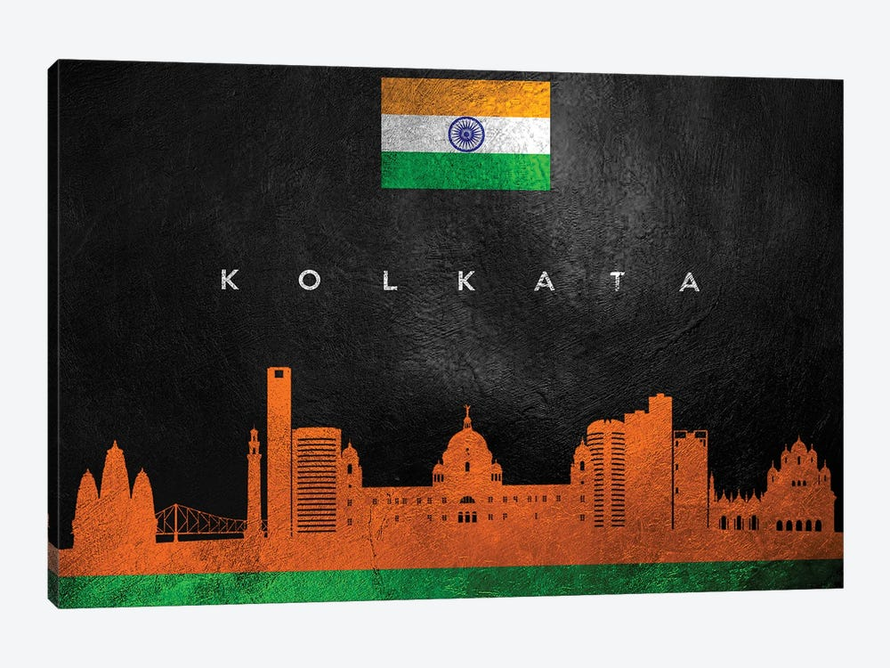 Kolkata India Skyline by Adrian Baldovino 1-piece Canvas Wall Art