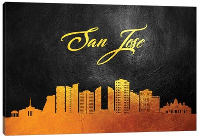 San Jose Costa Rica Gold Skyline Canvas Art Print