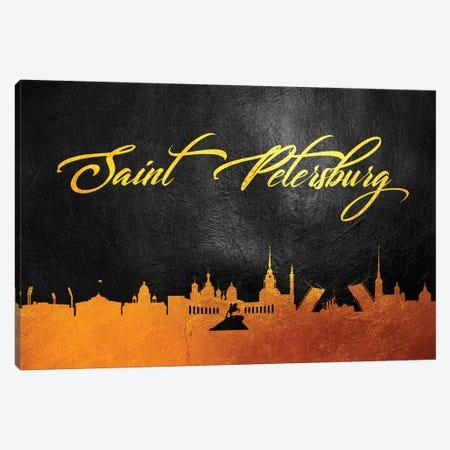 Saint Petersburg Russia Gold Skyline 2 Canvas Print #ABV625} by Adrian Baldovino Canvas Art
