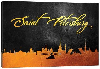 Saint Petersburg Russia Gold Skyline 2 Canvas Art Print