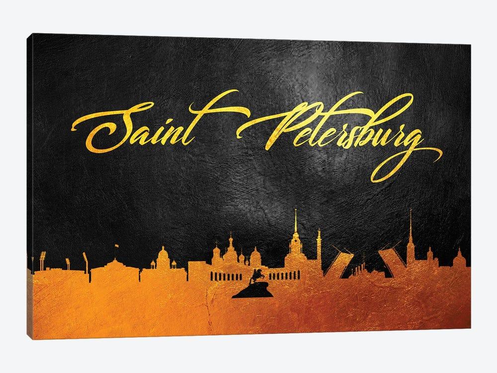 Saint Petersburg Russia Gold Skyline 2 by Adrian Baldovino 1-piece Art Print