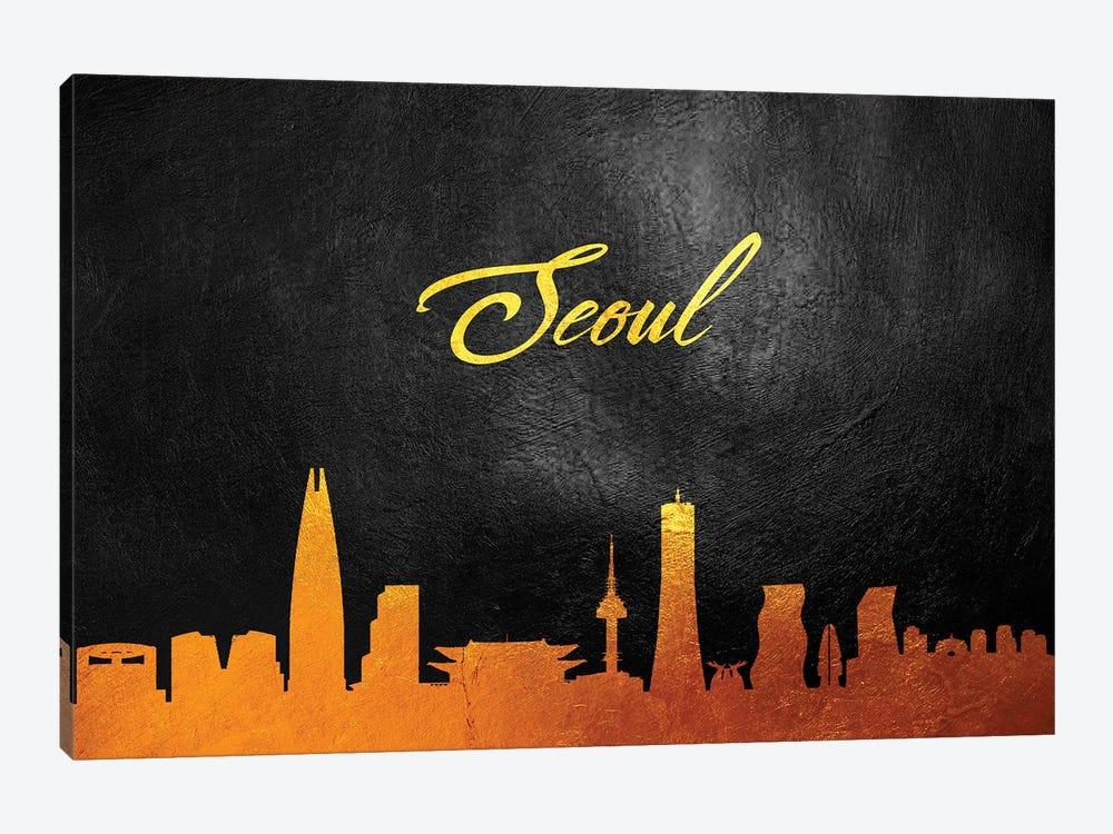 Seoul South Korea Gold Skyline by Adrian Baldovino 1-piece Canvas Wall Art
