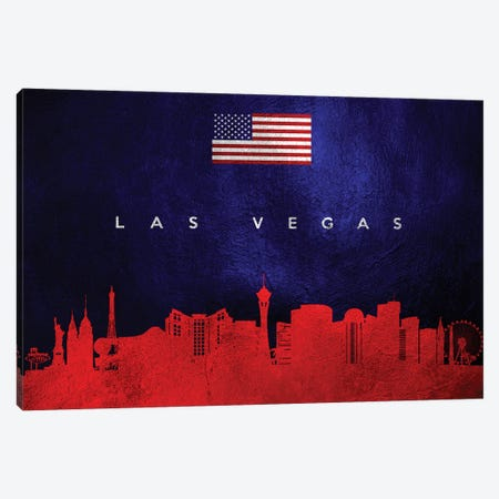 Las Vegas Nevada Skyline Canvas Print #ABV62} by Adrian Baldovino Canvas Wall Art