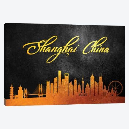 Shanghai China Gold Skyline 2 Canvas Print #ABV631} by Adrian Baldovino Canvas Artwork