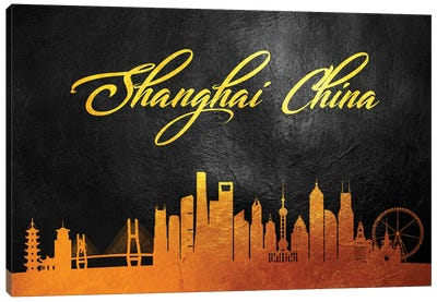 Shanghai China Gold Skyline 2 Canvas Art Print