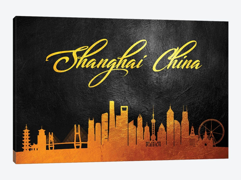 Shanghai China Gold Skyline 2 by Adrian Baldovino 1-piece Canvas Wall Art