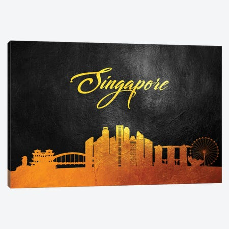Singapore Gold Skyline Canvas Print #ABV632} by Adrian Baldovino Canvas Art