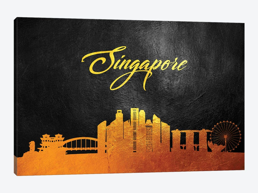 Singapore Gold Skyline by Adrian Baldovino 1-piece Canvas Print