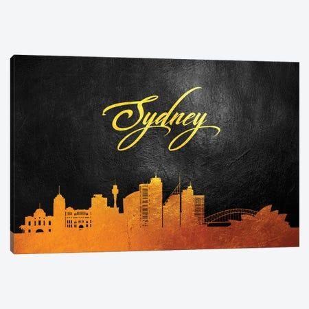 Sydney Australia Gold Skyline Canvas Print #ABV635} by Adrian Baldovino Art Print