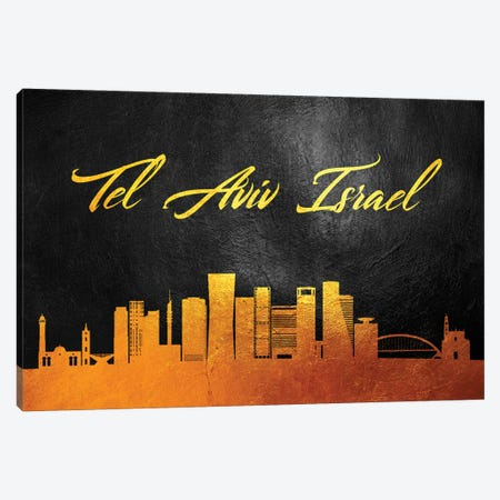 Tel Aviv Israel Gold Skyline Canvas Print #ABV638} by Adrian Baldovino Canvas Art