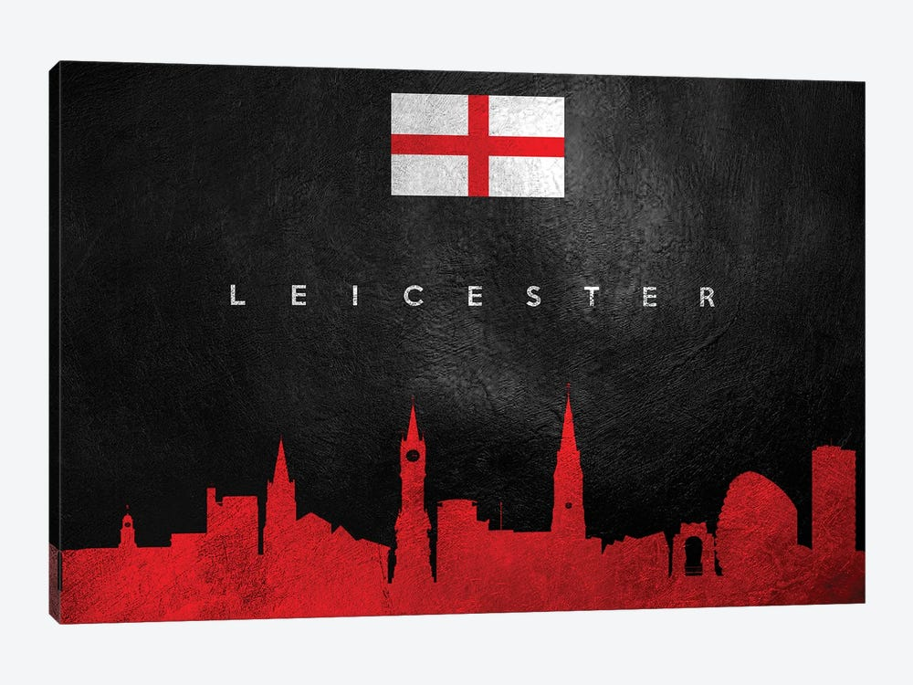 Leicester England Skyline by Adrian Baldovino 1-piece Canvas Artwork