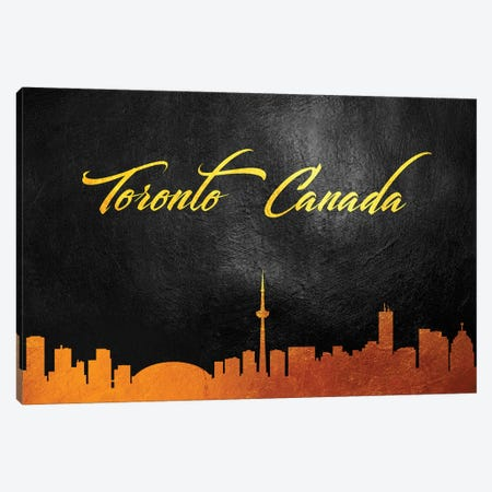 Toronto Canada Gold Skyline Canvas Print #ABV641} by Adrian Baldovino Canvas Art Print