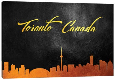 Toronto Canada Gold Skyline Canvas Art Print