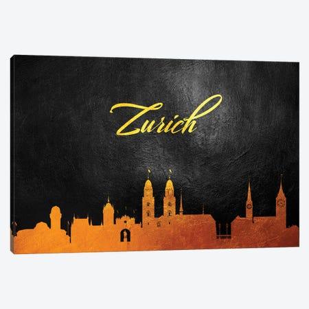 Zurich Switzerland Gold Skyline Canvas Print #ABV653} by Adrian Baldovino Canvas Artwork