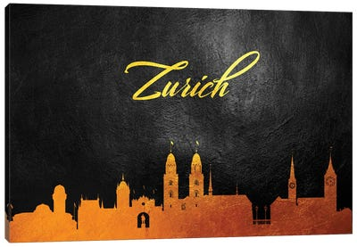 Zurich Switzerland Gold Skyline Canvas Art Print