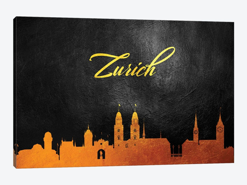 Zurich Switzerland Gold Skyline by Adrian Baldovino 1-piece Canvas Artwork