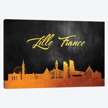 Lille France Gold Skyline Canvas Print #ABV65} by Adrian Baldovino Canvas Art Print