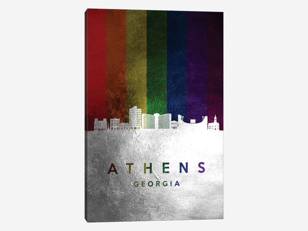 Athens Georgia Spectrum Skyline by Adrian Baldovino 1-piece Canvas Art