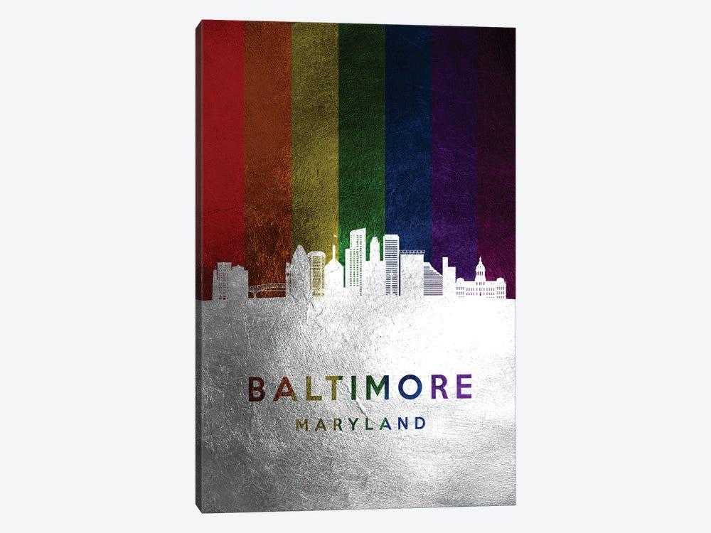 Baltimore Maryland Spectrum Skyline by Adrian Baldovino 1-piece Canvas Wall Art