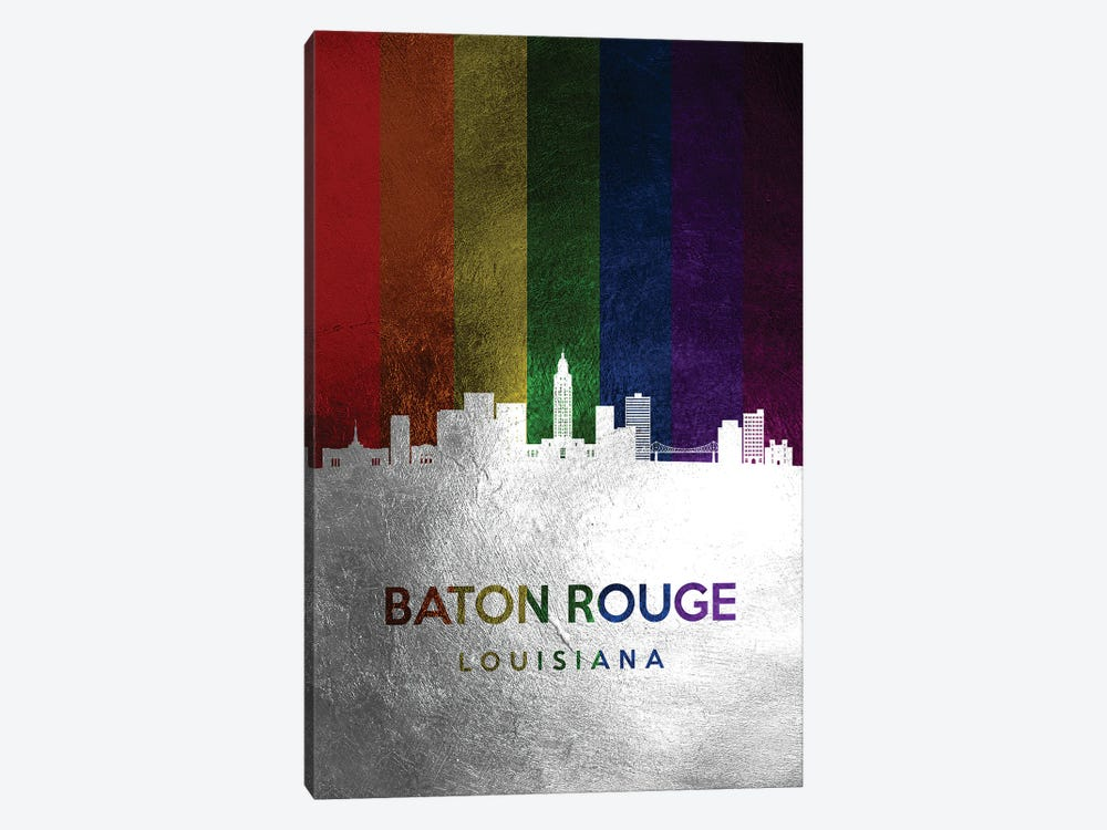Baton Rouge Louisiana Spectrum Skyline by Adrian Baldovino 1-piece Canvas Print