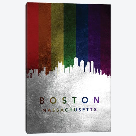 Boston Massachusetts Spectrum Skyline Canvas Print #ABV669} by Adrian Baldovino Art Print